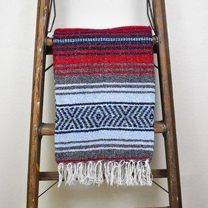 Boho Mexican Blanket Wild at Heart Red Blue Grey